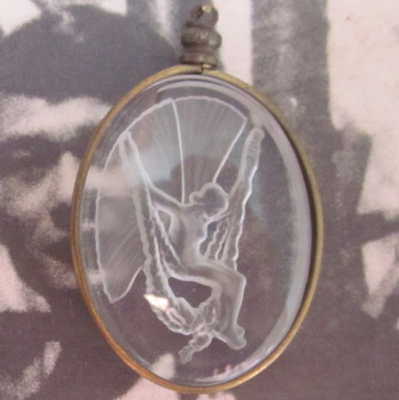 Vintage Swinging Nude Glass Cabochon In Setting