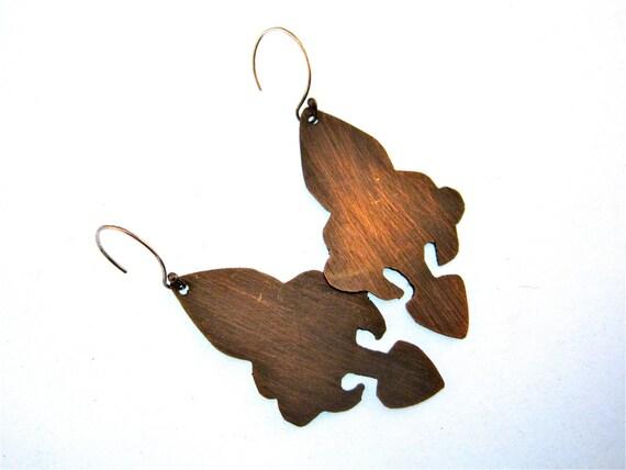 Gate Earrings In Stock- Copper Fleur De Lis with Sterling Silver Ear Wire