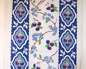Vintage Blue Cherries Tablerunner or Kitchen Towel Fabric
