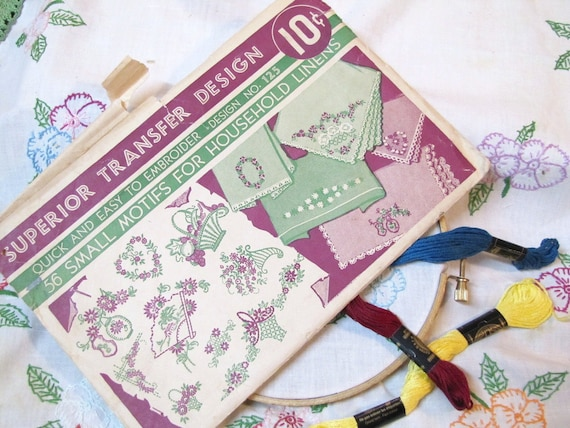 1940s Vintage Hot Iron Transfer Embroidery Flowers Baskets Fans Hearts Embroidery Patterns