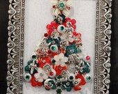 Silver framed chistmas tree with multi-colored rhinrstones and charms