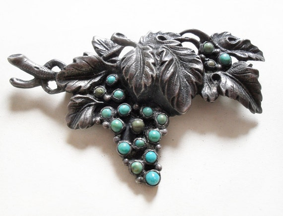 Silver and Turquoise Grape Vine Brooch