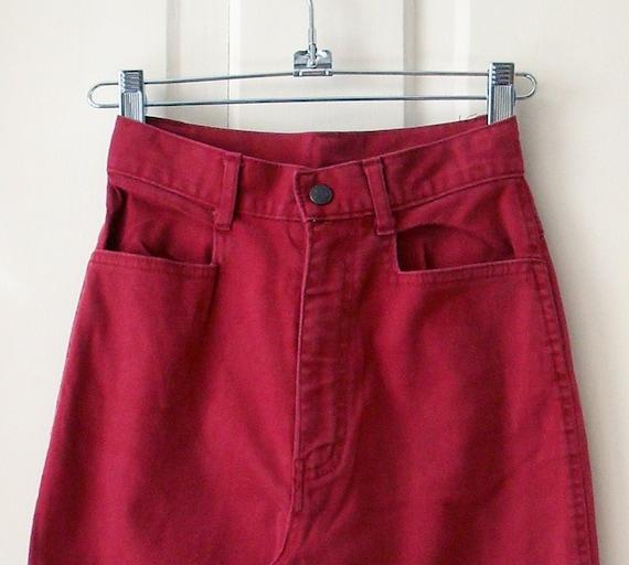 Deep Red High Waist Straight Leg Skinny Stretch Jeans 1970s xsmall