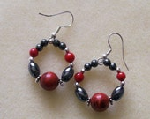 Red Coral, Hematite and Silver Beads and Findings spell Glamorous