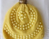 Vintage yellow handmade beaded purse