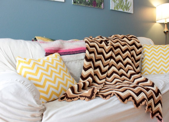 Vintage Brown, Cream, and Tan Chevron Blanket