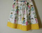 Girls Twirl Skirt China Doll Polka Dots Michael Miller Cotton, Yellow Pink Blue Green