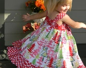 Girls Christmas Dress Knot Dress Christmas Trees Red Pink Green Red Polka Dot Ruffle