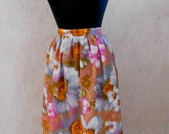 SALE 60s Floral High Waist Gathered Skirt  . Summer Watercolor Print Waist 26-27