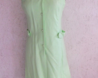 SALE 70s MOD Summer Dress . 1970s BEADED Green Linen Dress S-M