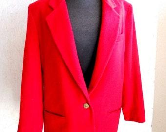 Vintage Red Classic Cashmere Jacket Blazer Red Cashmere Coat Size Medium