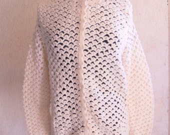 Vintage 60s Cardigan // Open Weave Sweater Large