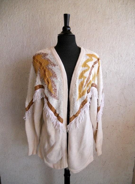 80s Oversized Embellished Knit Sweater