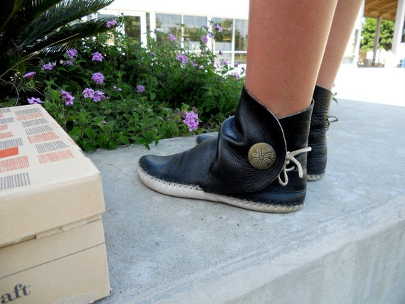 70s Original Hippie Squaw Boots All Leather Moccasin Boots