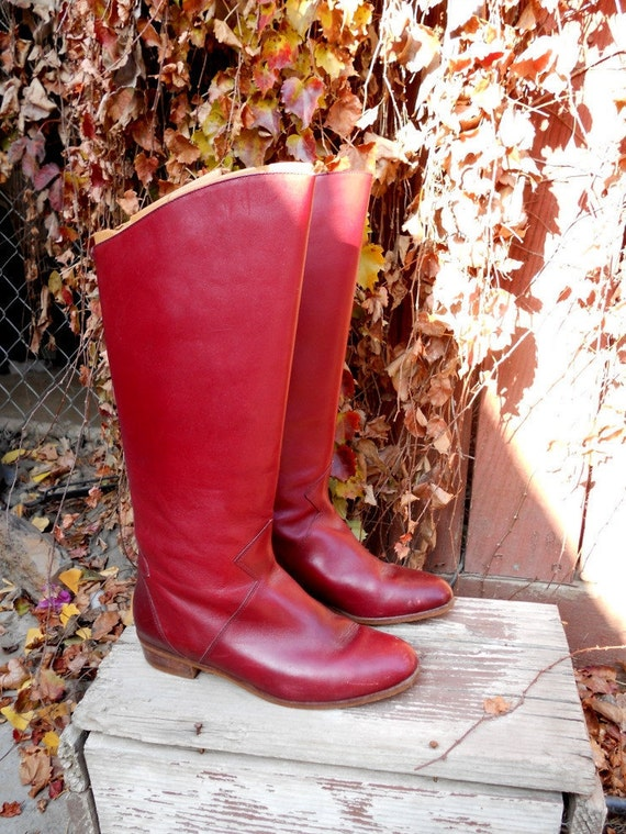 Vintage 80s Brazilian Riding Boots // Leather Low Heeled Boots 6.5