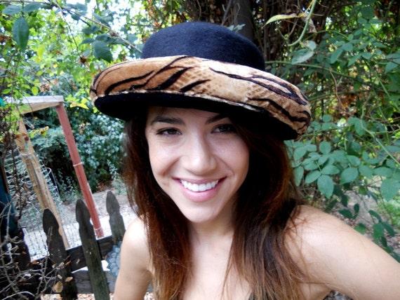 80s-90s ANIMAL PRINT Wool Bowler Hat Large