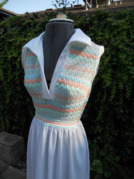 70s Summer Maxi // 1970s Textured Dress XS
