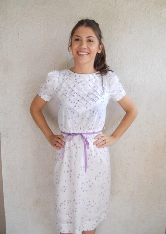 80s Floral Cotton Dress // Eyelet Print Dress Small