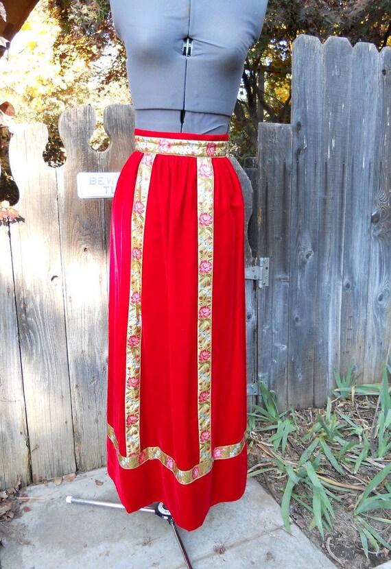 """SALE Vintage 70s Red Velvet Holiday Skirt . Maxi Hostess Skirt  . 23"""" Waist"""