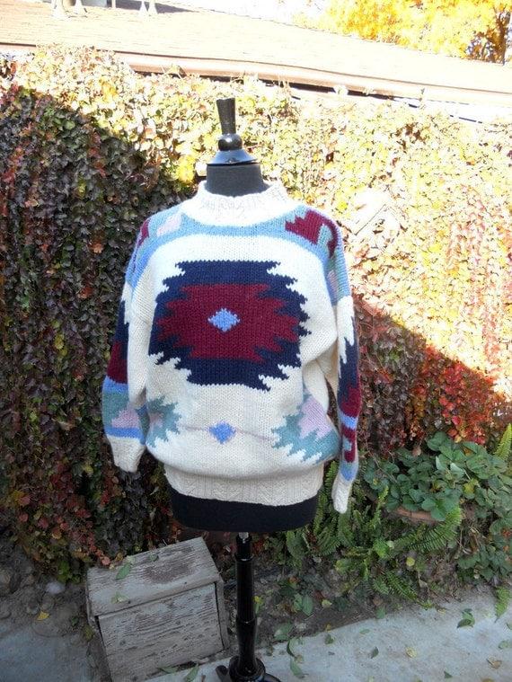 Vintage 80s Tribal Sweater // Wool Navajo Print Sweater M-L