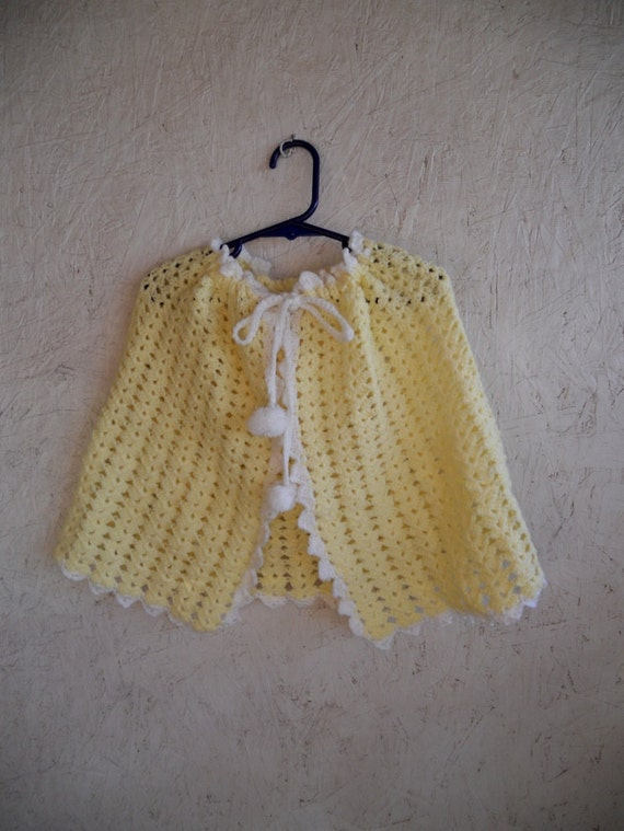 70s Hooded Cape // Toddler Crochet Cape // Yellow Drawstring