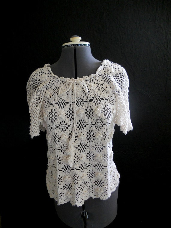 70s Cotton Crocheted Top // Made in Caribbean Size M, L