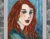 ACEO original -- Beauty Red Hair