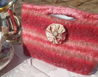 Geranium Felted Clutch
