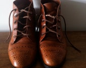 Vintage brown leather Calico ankle boots