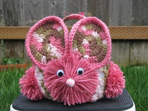 Recycled Milk Jug Crocheted Bunny Basket