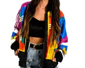Vintage 80s Multicolor Geometric Bomber Jacket