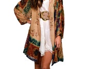 Champagne Multicolor Velvet Burnout Gypsy Kimono Jacket