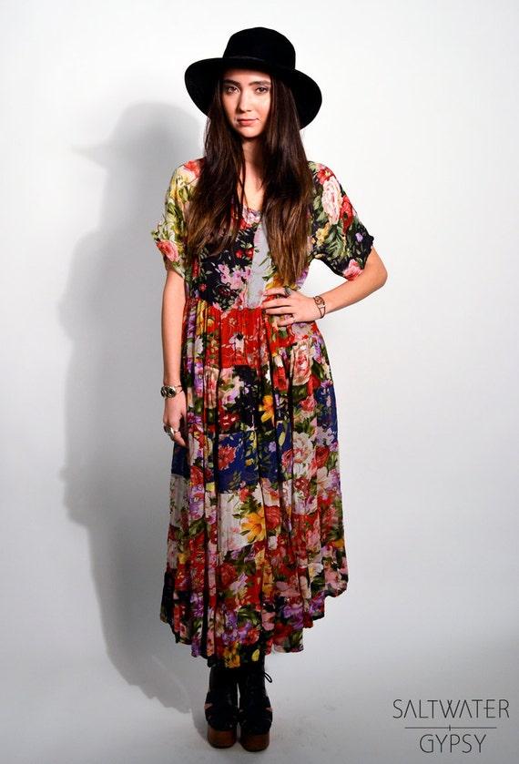 Vintage 90s Multicolor Floral Patchwork Short Sleeve Button Up  Semi-Sheer Maxi Dress