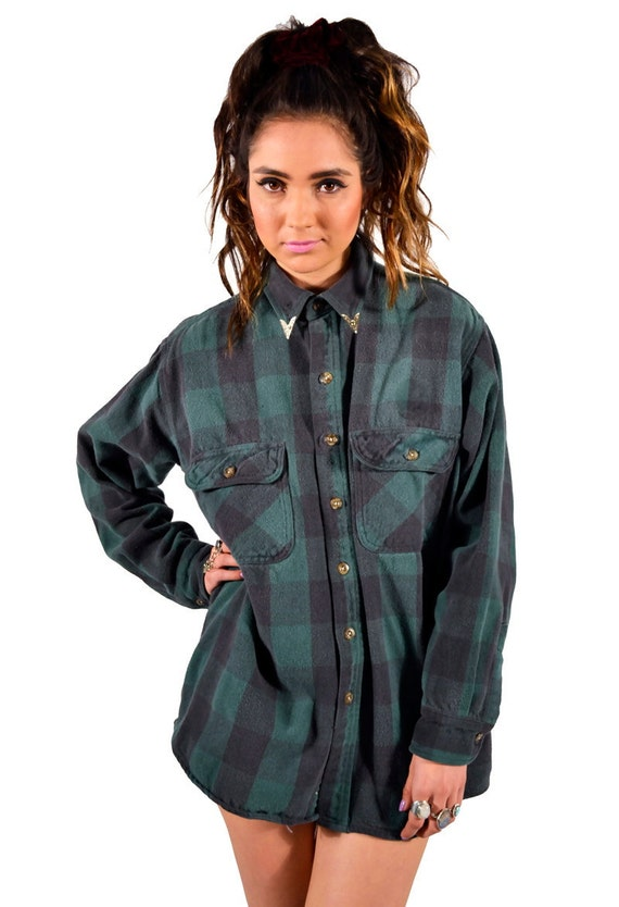 Vintage Renewed 90s Grunge Hunter Green Flannel With Removable Silver Collar Tips