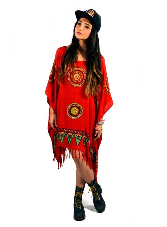 Vintage 90s Red Tribal Ethnic Fringe Caftan
