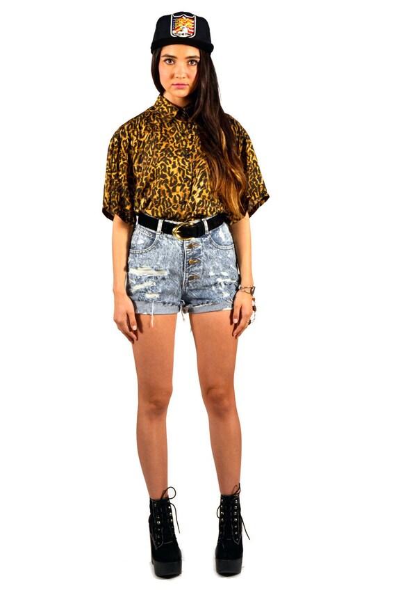 Vintage 90s Silk Cheetah Print Collard Button Up Blouse