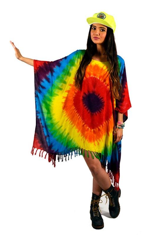SALE 30% OFF // Vintage 90s Deadstock Tie Dye Fringe Caftan