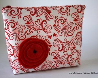 Wristlet Pouch w/ zipper - White Chocolate Swirls of Love Fabric