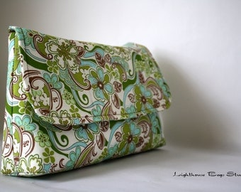 Diaper Clutch / Bridesmaid-Wedding Clutch -Forest Green & Browns