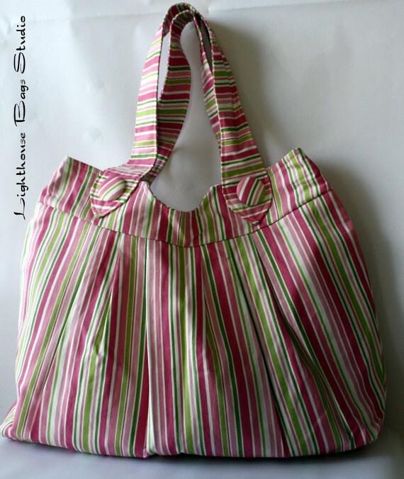 Pink, Green & White Stripes Nikki Bag