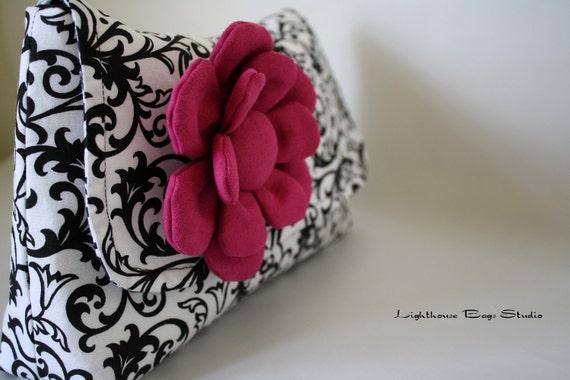 Diaper Clutch / Bridesmaid-Wedding Clutch - Damask Black