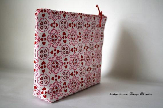 Wristlet Pouch w/ zipper -  White Chocolate Valentine Motif Fabric