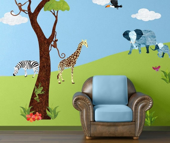 Jungle wall stickers for baby nursery girls room boys room for Baby jungle mural