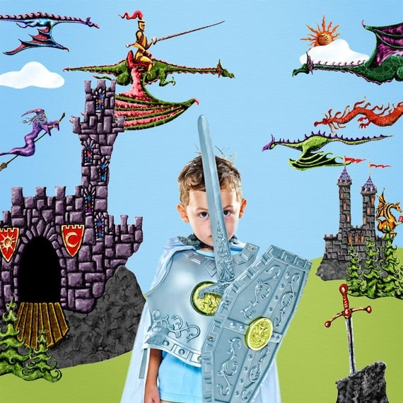 Dragon wall sticker decals for castle theme kids room for Castle wall mural sticker