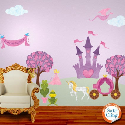 Princess wall decals for girl room jumbo set for Barbie princess giant wall mural