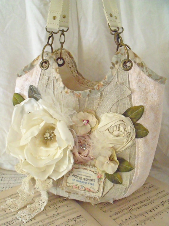 Romantic tote bag carry all shabby chic handbag Reserved listing