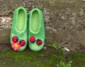 "Women's felted slippers ""Dreamy  ladybirds""  - slippers for women and girls. Made to order. Gift under 75."