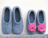 Family felted gray slippers set.  Gift set for her and for him. Made to order. Eco friendly.
