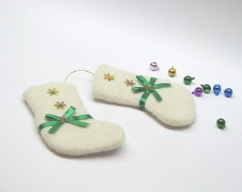 Hand felted mini  white Christmas stocking  ornaments - one pair.   Gifts Under 15