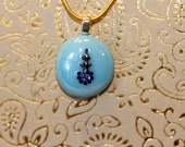 New one of a kind glass Pebble Pendants round baby blue with dark blue shimmery crystals gllimmering necklace with chain